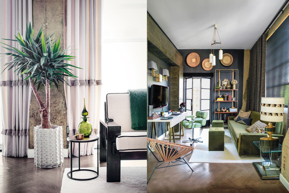 """It's all about the details – curtains with tassels, contrasting piping and interesting objets d'art set Hayley's home apart. Various shades of green and tribal-inspired accessories decorate the """"snug"""", a place where she works and relaxes."""