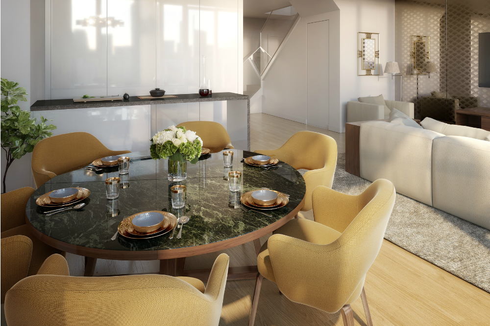 Many of the 111 units are duplexes, such as this north-facing apartment, offering unrivalled views across the city and Victoria Harbour beyond.