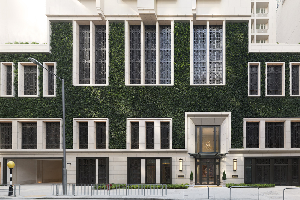 The grand limestone and living-wall facade of The Morgan.