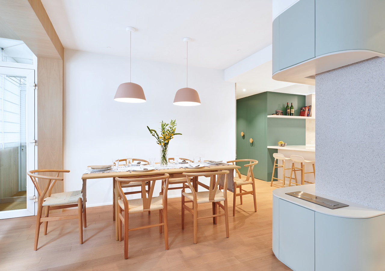 The open dining area makes for a perfect social hub for the family and their guests