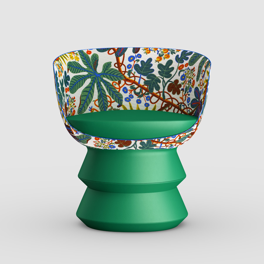 An exotically-patterned chair by Raw Edges exudes playfulness and individuality
