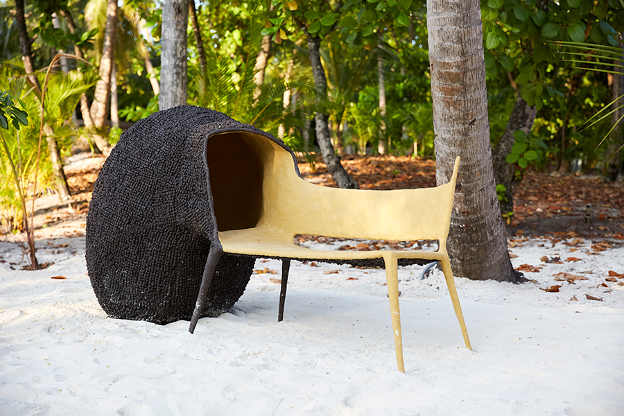 'Evaluation Chair', a cocoon-like bench by Nacho Carbonell.