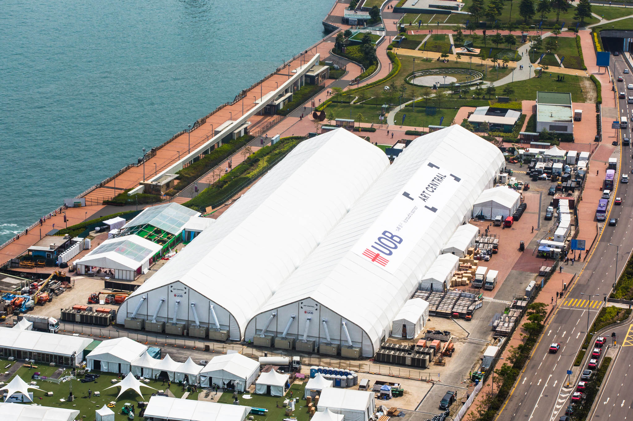 An aerial view of last year's fair. This year, Art Central delivers a diverse line-up of exhibitors and artists, with over 100 participating galleries from 22 countries