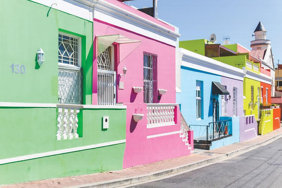 Vibrantly painted houses are found along streets of Bo-Kaap, a historic neighbourhood