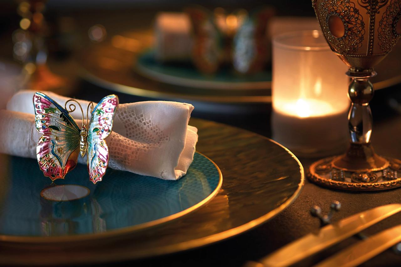 A butterfly napkin ring