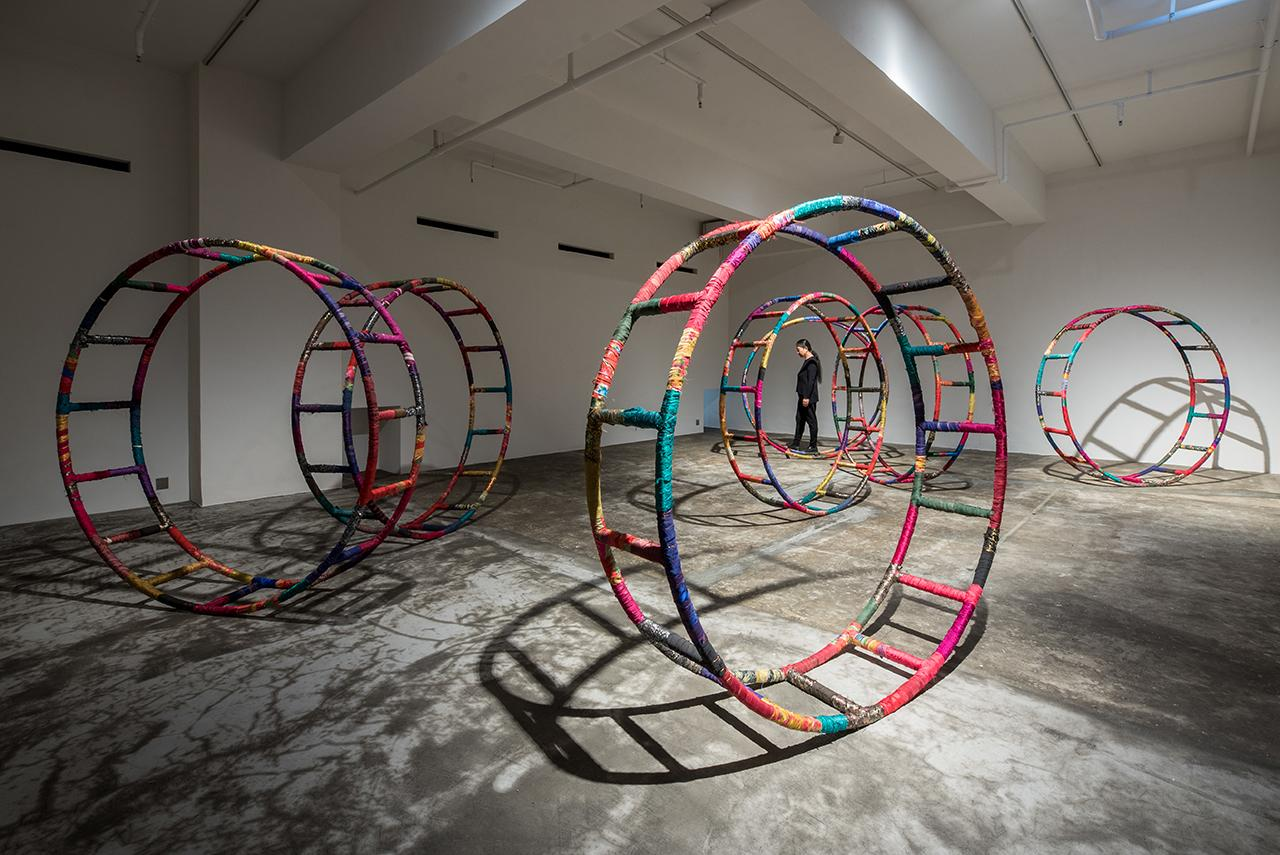 An installation by Kimsooja, featuring iron rings, used cloths and threads. (Photo: Courtesy of Axel Vervoordt Gallery)