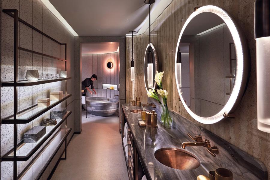 The touch of decadence extends to the suite's bathroom area