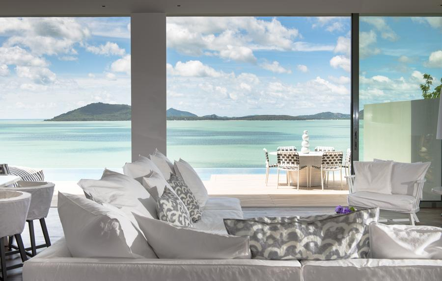 Paola Navone's contemporary interiors evoke a relaxed Mediterranean vibe, at the same time paying tribute to COMO Point Yamu's Thai locale and making the most of the spectacular views