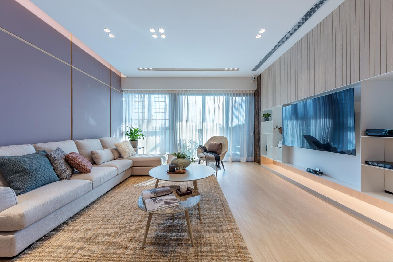 Natural materials and a pastel palette imbue zen in this 2,000sqft Kowloon Tong home