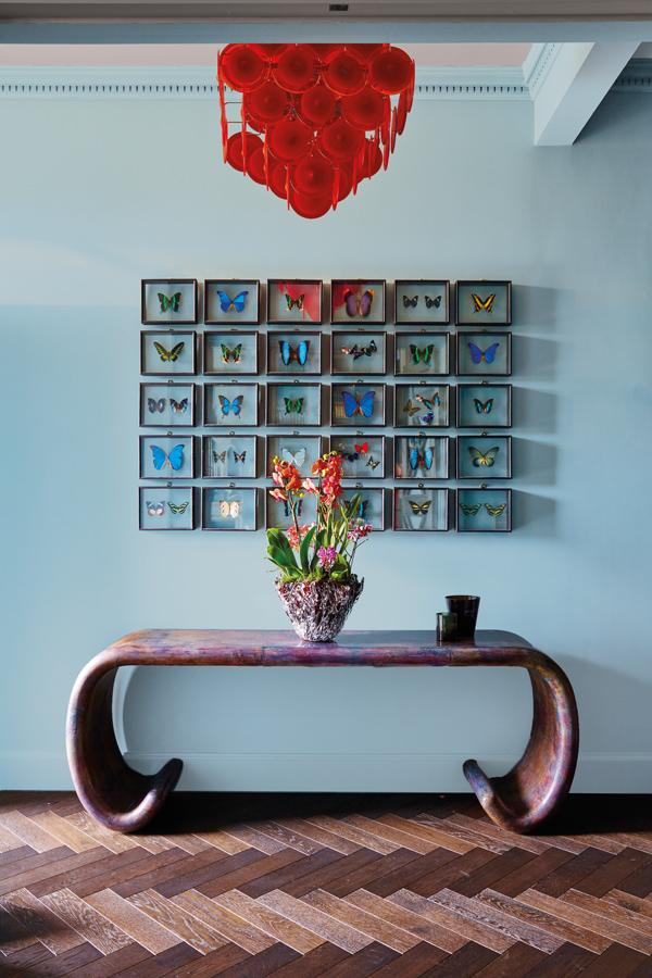 Butterflies shelved in glass frames adorn one side of the living area