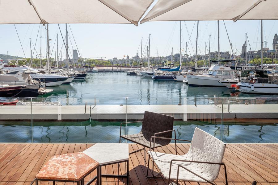 The restaurant looks out to magnificent views of the marina