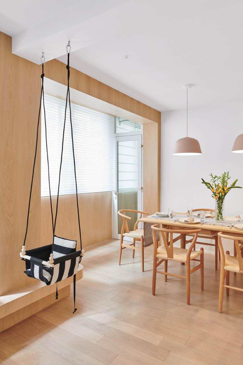 Hidden ceiling hooks are added to host a baby swing chair