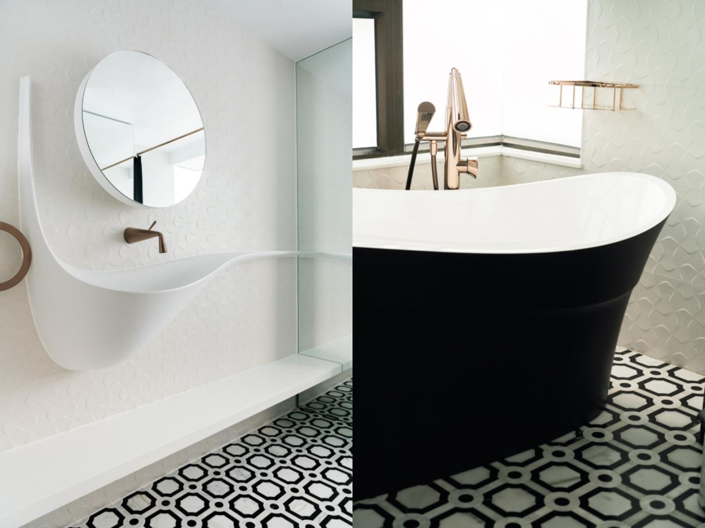 The master bathroom boasts a basin by Flaper, a colourliving bathtub and floor tiles by Arnhold & Co
