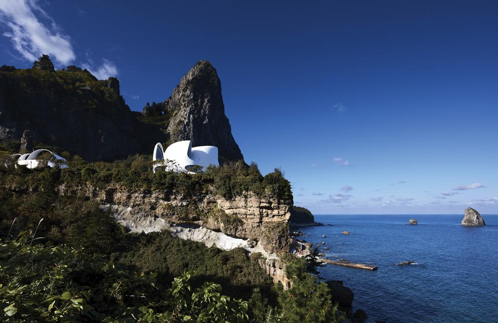 Healing Stay Kosmos' sits on a 30-metre-high cliff edge