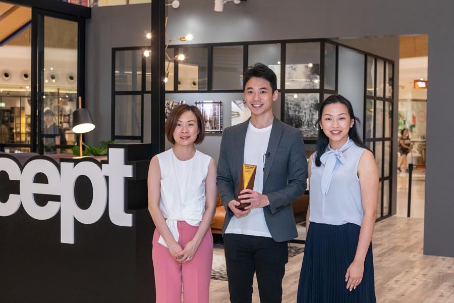 From left: Yoki Hui, Assistant General Manager – Leasing; winner Kelvin Kong; Joanne Chow, Director of BoConcept Hong Kong