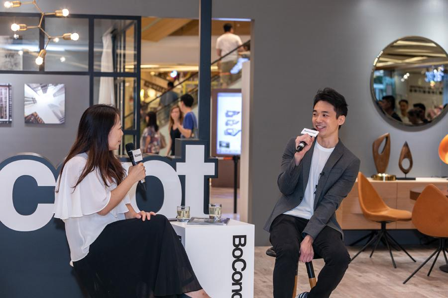 A design panel with Kelvin Kong hosted by (left) Home Journal publisher and editor, Emily Leung
