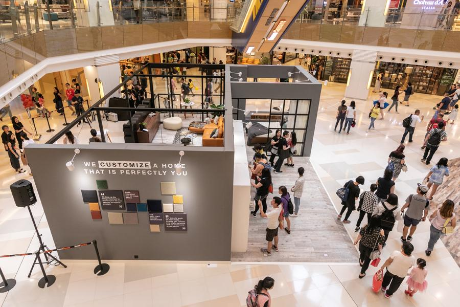 The thoughtfully constructed installation takes centre stage in HomeSquare's atrium
