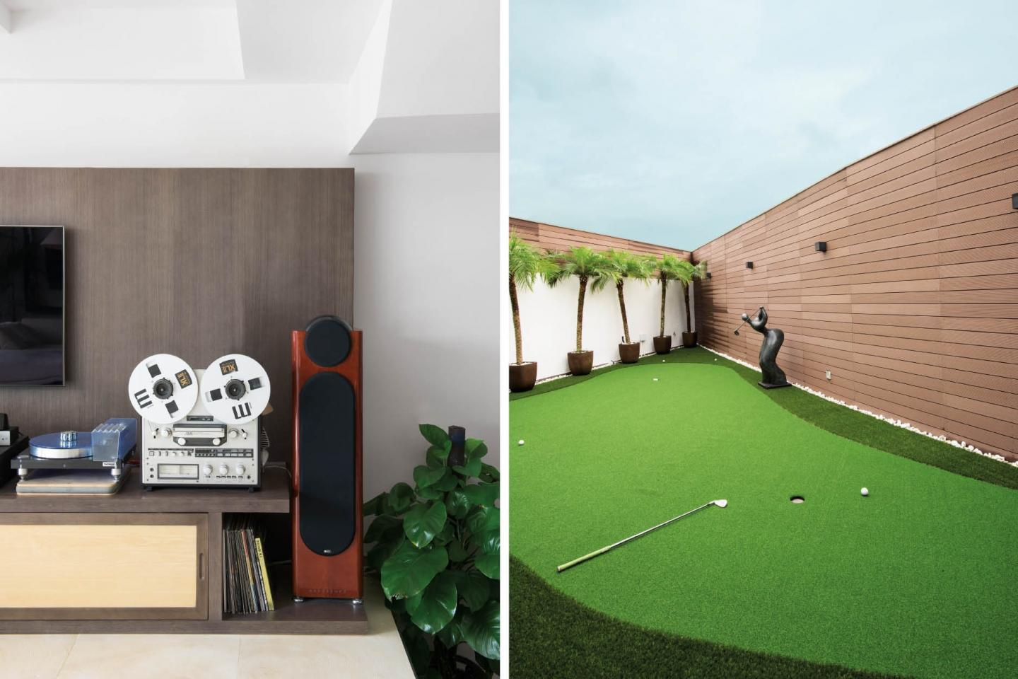Outside boasts a miniature putting green for daughter Inara, a golf whiz