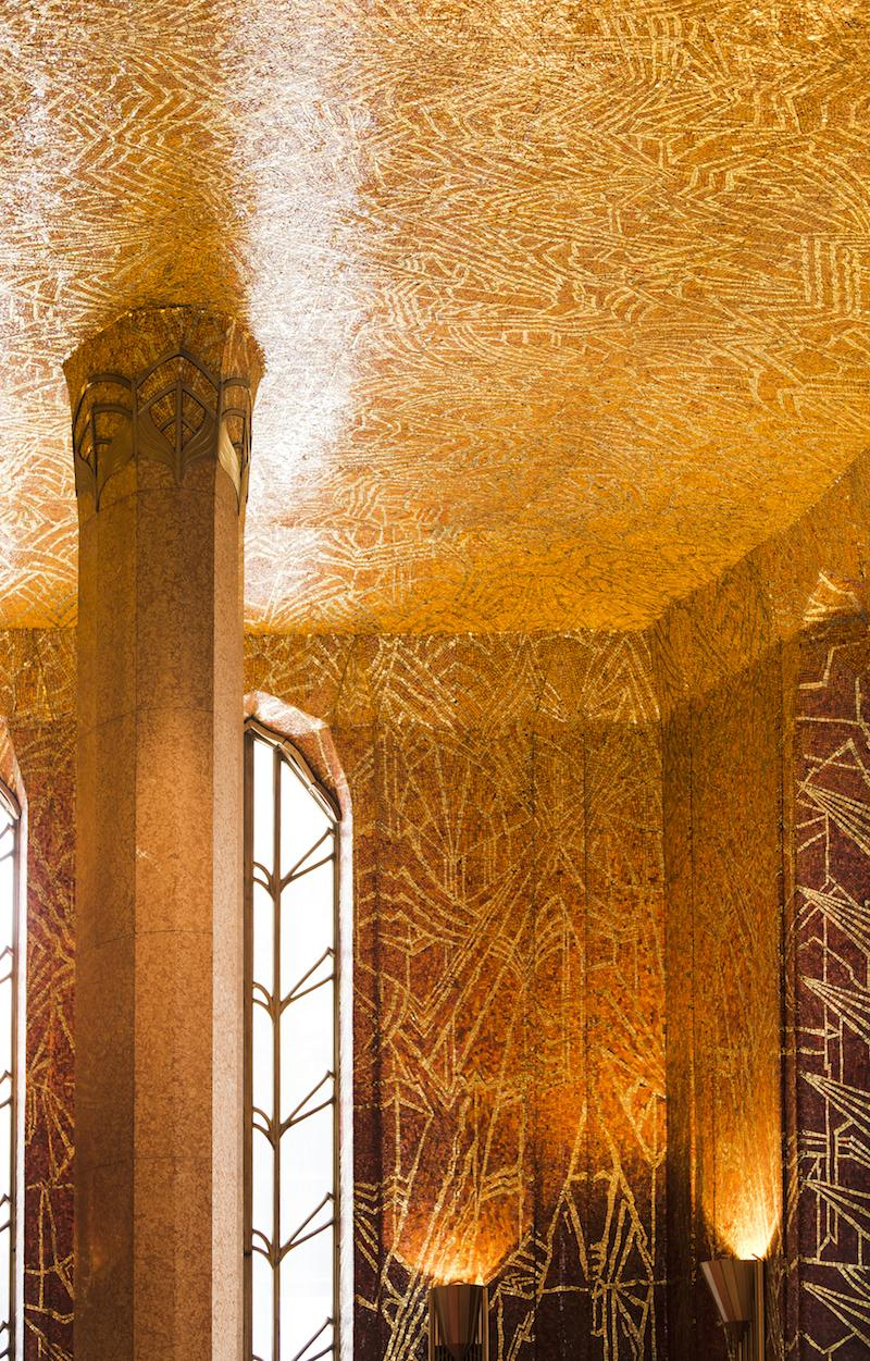 All 5,000 square feet of the Red Room clad in polished mosaic tiles