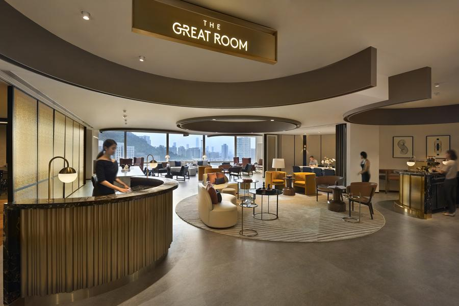 The Great Room in One Taikoo Place looks out to stunning vistas of mountains and the ocean