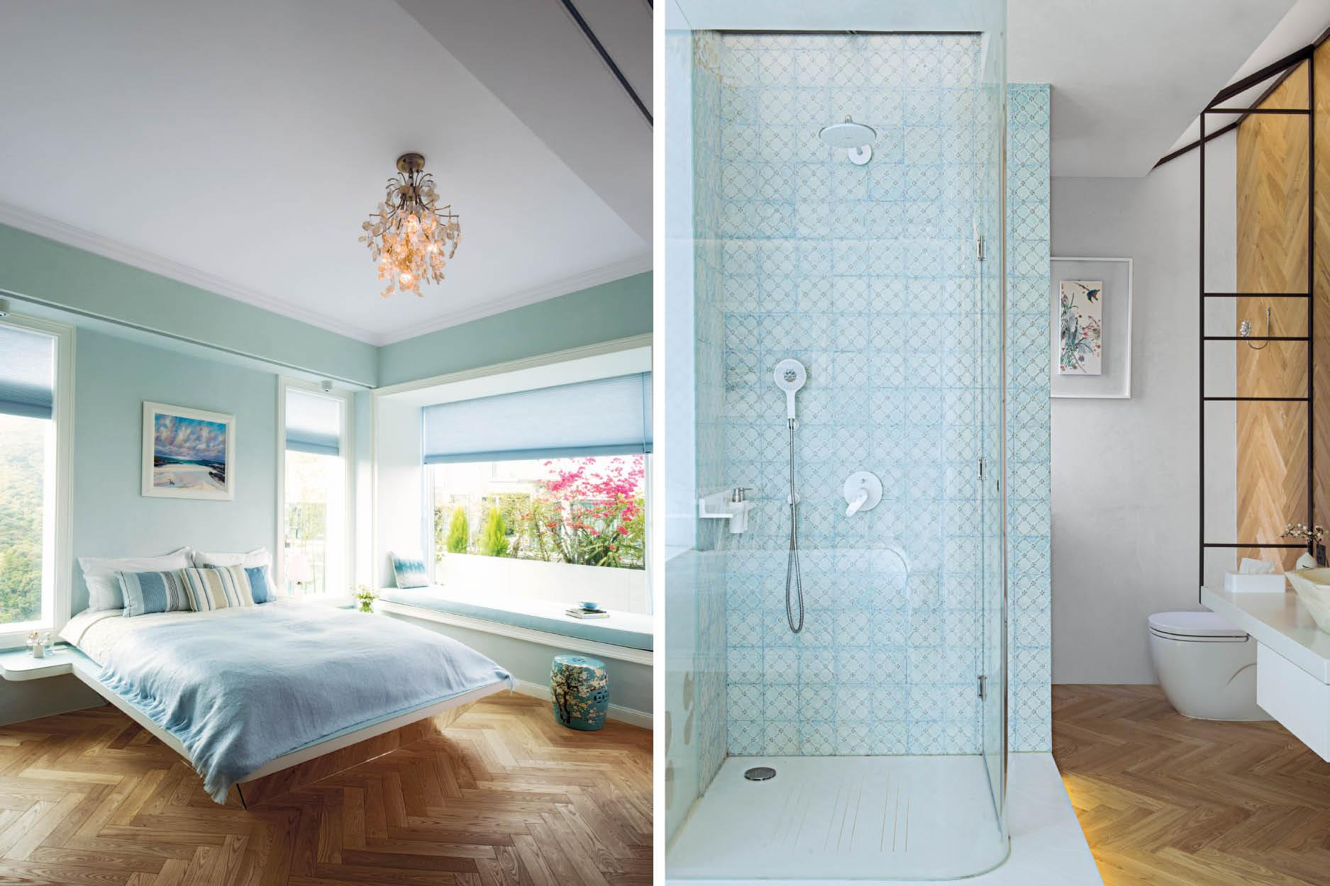 From the bedrooms to the bathrooms, wood is complemented by a bright seafoam palette, along with fixtures of glass and marble for a soft, balming look