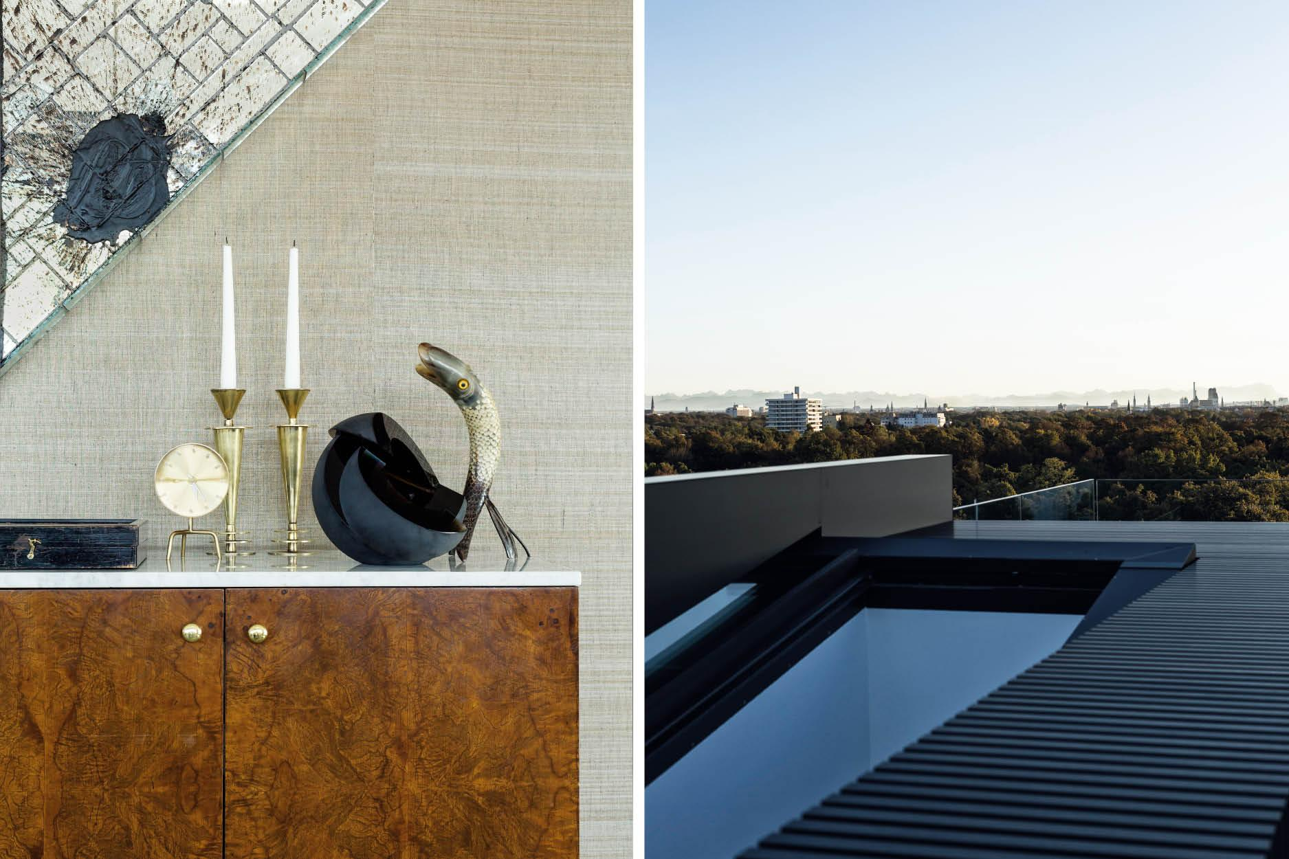 The roof terrace offers breathtaking views across Munich to the Alps