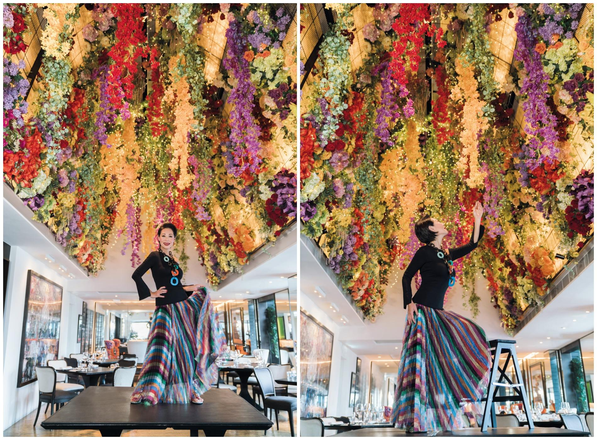 "Bonnae pictured underneath the ""flower dome"" in one of her favourite rooms in Sevva; the iconic restaurant and bar will unveil a brand new look this September"