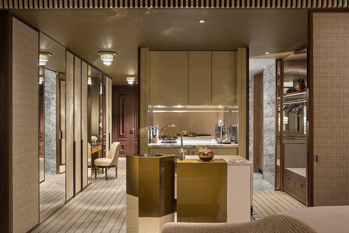 The kitchenette of the studio unit. (Photo: Courtesy of Rosewood Hong Kong)