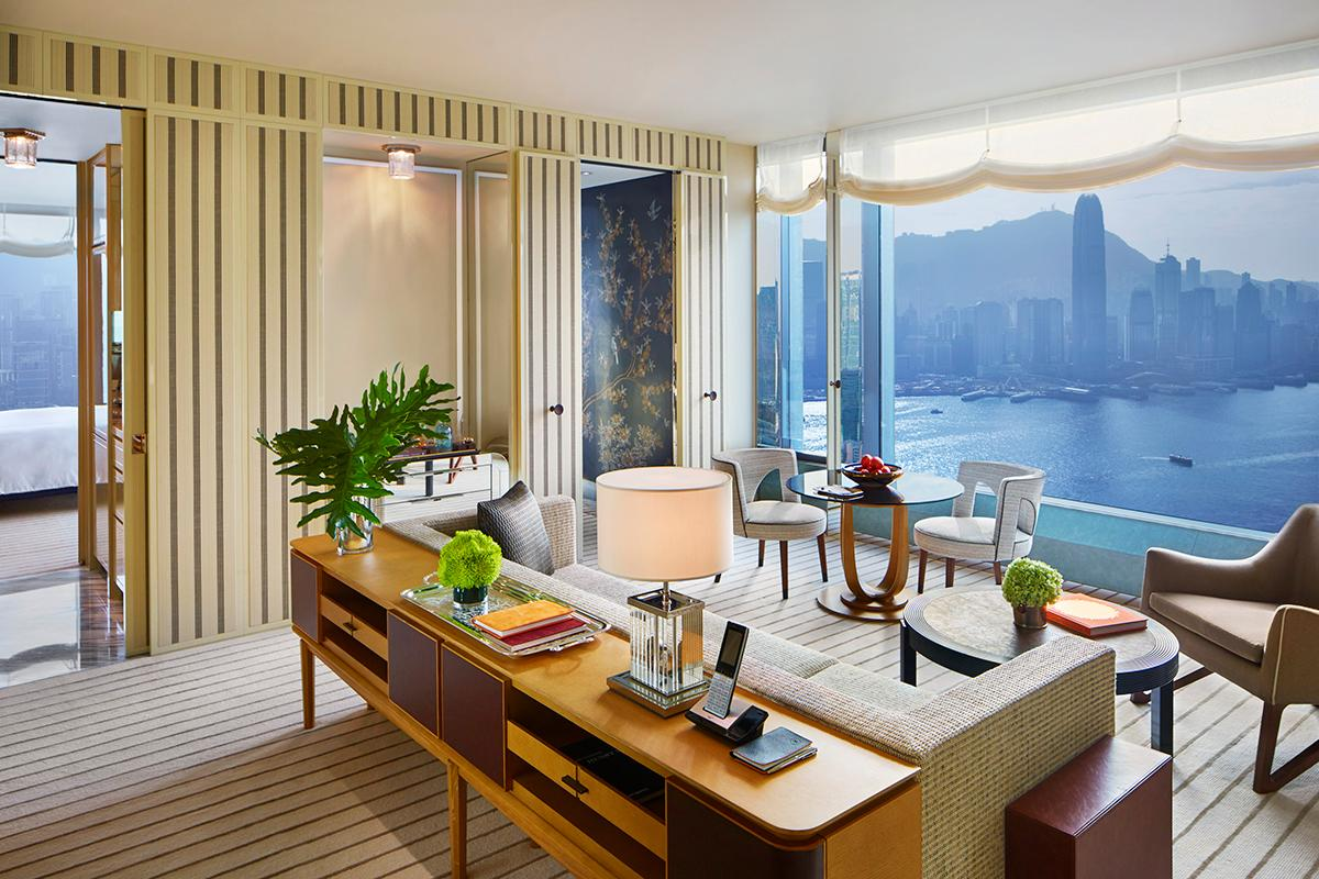 A view of the living room in a Rosewood Residences unit.  (Photo: Courtesy of Rosewood Hong Kong)