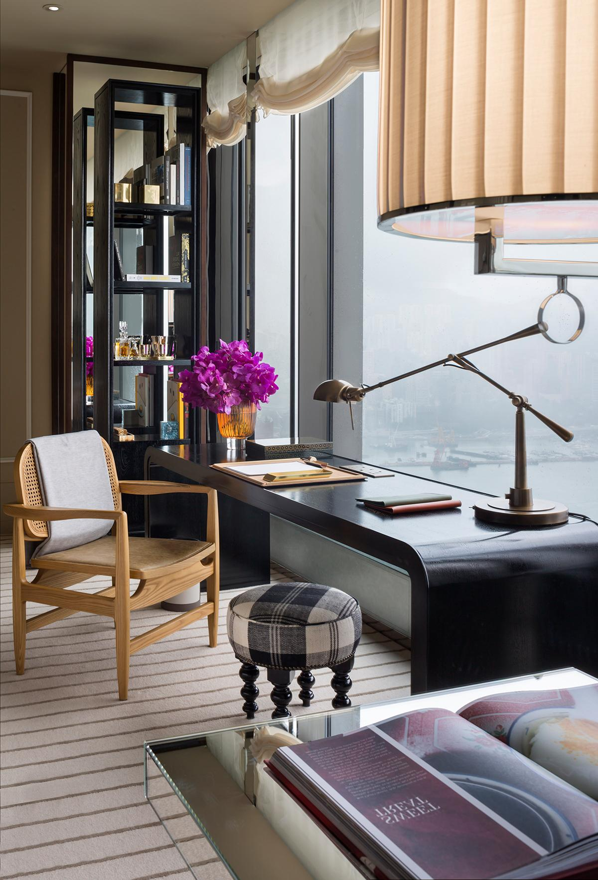 The workspace in every Rosewood Residences unit features beguiling views of the harbour and the city beyond. (Photo: Courtesy of Rosewood Hong Kong)